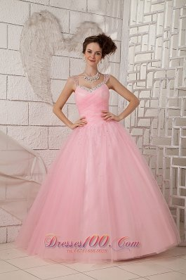 Brand New Pink Ball Gown Straps 15 Quinceanea Dress Tulle Beading Floor-length Pretty