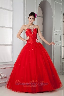 Red Sweet 16 Dress For Custom Made Ball Gown Sweetheart Tulle Beading Floor-length Pretty