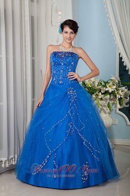 Customize Royal Blue 15 Quinceanera Dress A-line / Princess Strapsless Tulle Floor-length Pretty