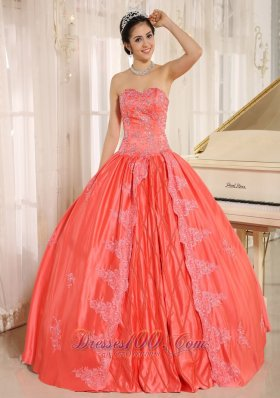 Sacaba City Embroiery With Beading Decorate On Taffeta Watermelon Sweetheart Quinceanera Dress Pretty