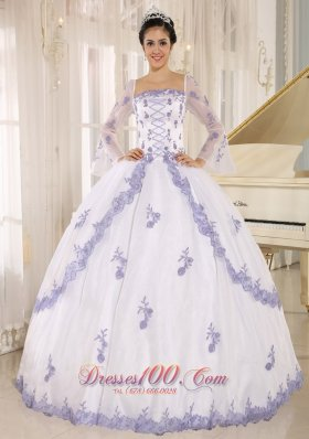 Lilac Embroidery Decorate On White Organza Square Neckline Quinceanera Dress In Quillacollo Pretty