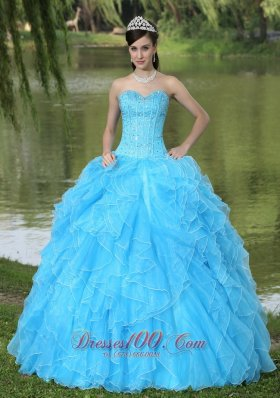 Beaded Ruffles Layered Decorate Famous Designer Quinceanera Dress With Sweetheart Aqua Skirt Pretty