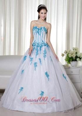 White Ball Gown Sweetheart Floor-length Taffeta and Organza Appliques Quinceanera Dress Pretty