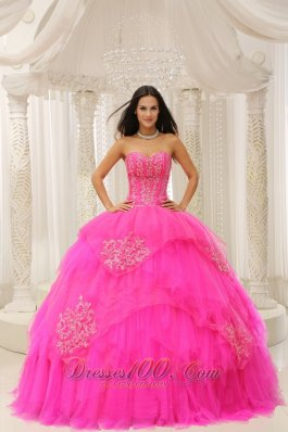 Custom Made Hot Pink Sweetheart Embroidery For Quinceanera Wear In 2013 Pretty