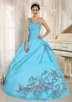 Baby Blue Quinceanera Dress One Shoulder With Appliques and Beading 2013 Pretty