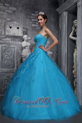 New Baby Blue Quinceanera Dress Sweetheart Taffeta and Tulle Beading and Appliques Ball Gown Pretty