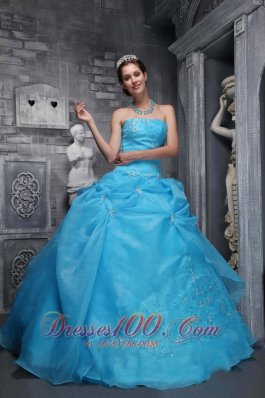 Beautiful Ball Gown Strapless Floor-length Taffeta and Organza Appliques Baby Blue Quinceanera Dress Pretty