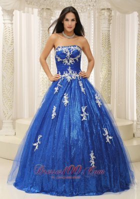 Cheap Royal Blue A-line Quinceanera Dress With Appliques Paillette Over Skirt Tulle In New Jersey