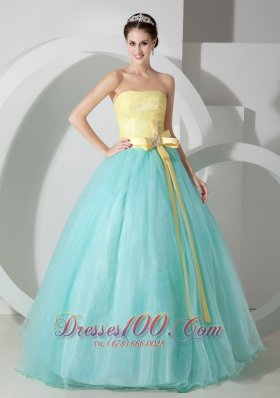 Cheap Aqua Blue and Yellow Ball Gown Strapless Floor-length Organza Sash and Ruch Quinceanea Dress