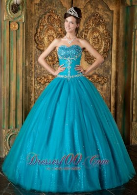 Cheap Brand New Teal Sweet 16 Dress Sweetheart Beading Tulle A-Line / Princess