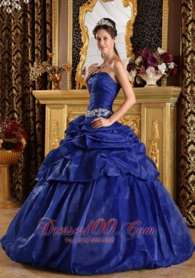 Cheap Discount Royal Blue Quinceanera Dress Strapless Pick-ups Taffeta Ball Gown