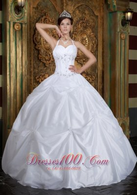 Cheap White Ball Gown Halter Floor-length Taffeta Beading Quinceanera Dress