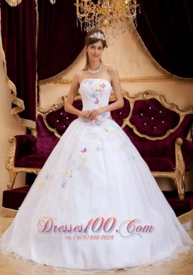 Cheap Exquisite White Sweet 16 Dress Strapless Organza Appliques A-line / Princess