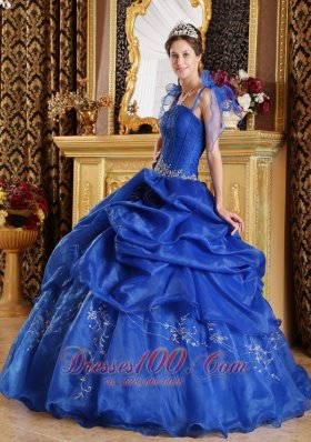 Cheap Blue Ball Gown Spaghetti Straps Floor-length Organza Appliques Quinceanera Dress