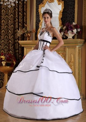 Cheap Elegant White Quinceanera Dress Strapless Satin and Organza Appliques Ball Gown