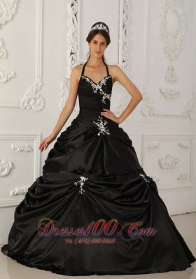 Cheap Pretty Black Quinceanera Dress Halter Taffeta Appliques A-Line / Princess