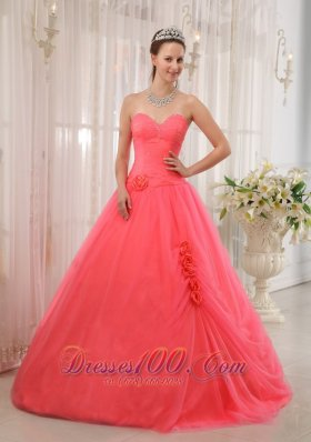 Cheap Modest Watermelon Red Sweetheart Tulle Beading Quinceanera Dress Ball Gown