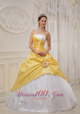 Cheap Discount Yellow and White Sweet 16 Dress Strapless Taffeta and Tulle Beading Ball Gown