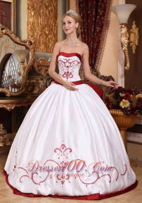 Cheap Informal White Quinceanera Dress Strapless Satin Embroidery Ball Gown
