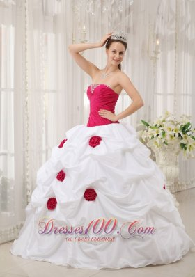 Cheap Sexy Hot Pink and White Quinceanera Dress Strapless Taffeta Hand Made Flower Ball Gown