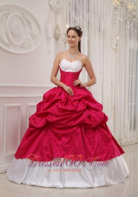 Cheap Popular Hot Pink and White Sweet 16 Dress Sweetheart Taffeta Beading and Pick-ups Ball Gown