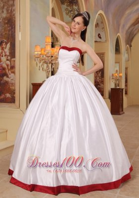 Cheap Beautiful White Quinceanera Dress Sweetheart Satin Ball Gown