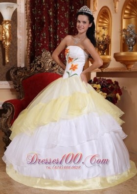 Cheap Romantic Light Yellow and White Quinceanera Dress Strapless Organza Embroidery Ball Gown