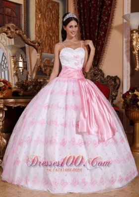 Cheap Pretty Light Pink Quinceanera Dress Spaghetti Straps Organza Embroidery Ball Gown