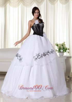 Cheap White Ball Gown Strapless Floor-length Organza Embroidery Quinceanera Dress