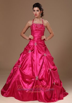 Cheap Pick-ups Halter A-line Hot Pink Taffeta Military Ball Gowns For Custom Made In Demopolis Alabama