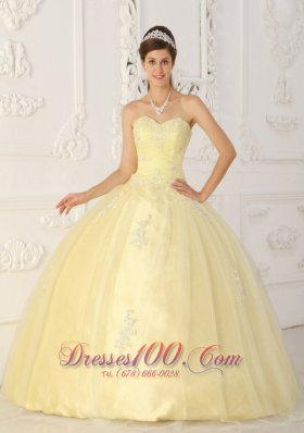 New Light Yellow Sweet 16 Dress Sweetheart Taffeta and Organza Appliques Ball Gown  for Sweet 16