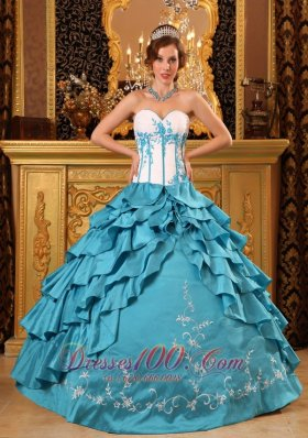 Popular Teal Quinceanera Dress Sweetheart Ruffles And Embroidery Taffeta Ball Gown  for Sweet 16