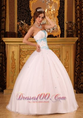 White Ball Gown Strapless Floor-length Satin and Organza BeadingQuinceanera Dress  for Sweet 16