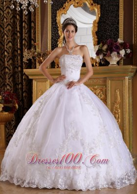 White Ball Gown Strapless Floor-length Embroidery with Beading White Quinceanera Dress  for Sweet 16
