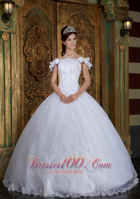 Discount White Sweet 16 Dress Off The Shoulder Organza Appliques Ball Gown  for Sweet 16