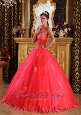 Gorgeous Coral Red Quinceanera Dress Halter Appliques Tulle Ball Gown  for Sweet 16
