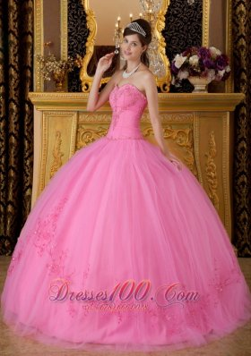 Discount Rose Pink Quinceanera Dress Sweetheart Tulle Appliques Ball Gown  for Sweet 16