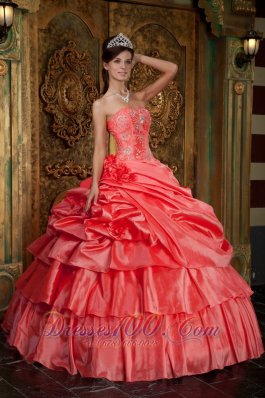 Discount Watermelon Quinceanera Dress Strapless Taffeta Beading Ball Gown  for Sweet 16