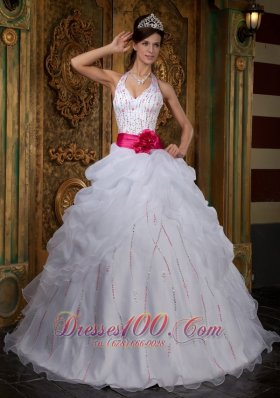 Impression White Sweet 16 Dress Halter Organza Beading A-line  for Sweet 16