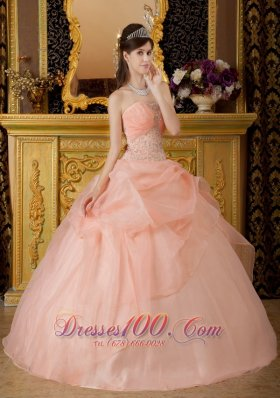 Romantic Baby Pink Quinceanera Dress Strapless Organza Beading Ball Gown  for Sweet 16