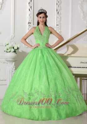 Lovely Spring Green Quinceanera Dress Halter Taffeta and Organza Appliques Ball Gown  for Sweet 16