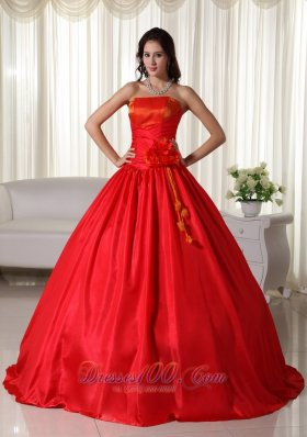 Red Ball Gown Strapless Floor-length Taffeta Ruched Quinceanera Dress  for Sweet 16