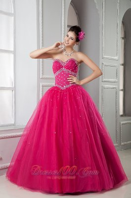 2013 Hot Pink Sweet 16 Dress A-line Sweetheart Tulle Beading Floor-length  for Sweet 16