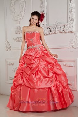 2013 Watermelon Red Sweet 16 Dress Ball Gown Strapless Taffeta Beading Floor-length  for Sweet 16