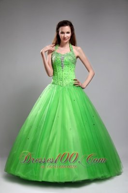 Cute Spring Green Sweet 16 Dress Halter Tulle Beading Ball Gown  for Sweet 16