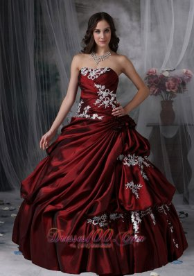 Custom Made Wine Red Ball Gown Strapless Quinceanera Dress Taffeta Appliques Floor-length