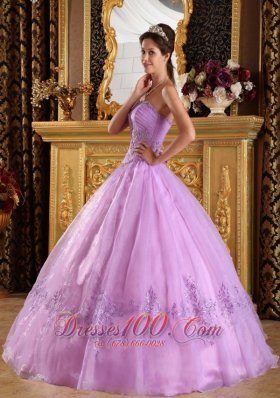 Perfect Lilac Quinceanera Dress Strapless Appliques Organza Ball Gown