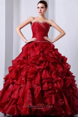 Wine Red Sweet16 Dress Beading and Ruffles A-Line / Princess Sweetheart Floor-length Organza