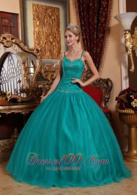 Puffy Brand New Teal Quinceanera Dress Spaghetti Straps Tulle Beading Ball Gown