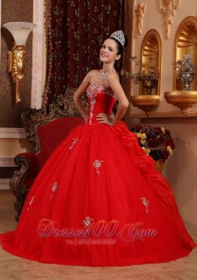 Puffy Luxurious Red Quinceanera Dress Sweetheart Organza Appliques Ball Gown